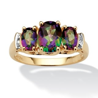 PalmBeach 10k Yellow Gold Multicolored Fire Topaz and Diamond Accent Ring Diamonds & Gems