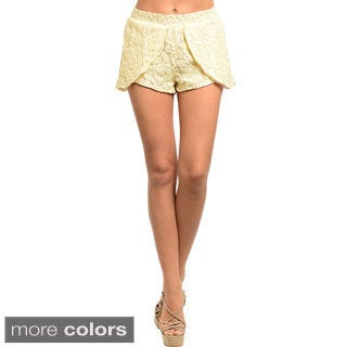 Feellib Women's Floral Lace Tulip-layer Shorts