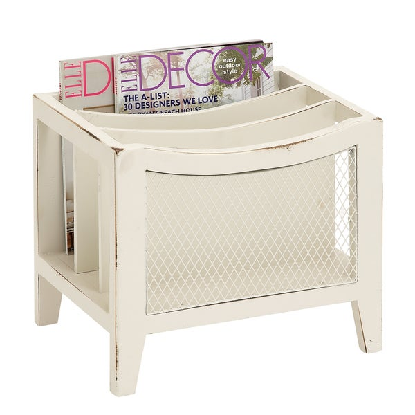 Multi-section Distressed White Wooden Magazine Rack