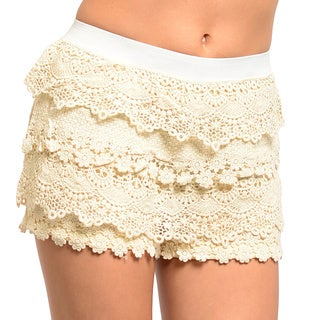 Feellib Women's Scalloped Crochet Lace Shorts