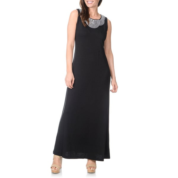 Lennie for Nina Leonard Women's Black Embroidered-neckline Maxi Dress
