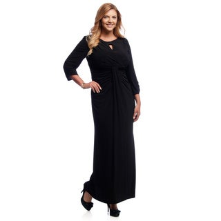 Alex Evenings Women's Plus Size Black Keyhole-neck Jersey Evening Gown