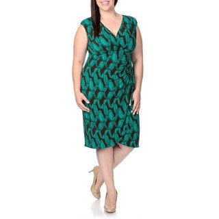 London Times Women's Plus Faux Wrap Printed Dress