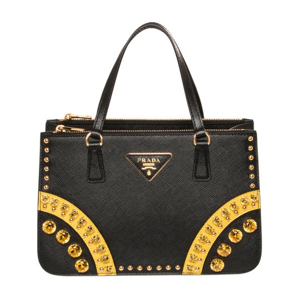 Prada Black/ Yellow Saffiano Leather Embellished Mini Tote Bag
