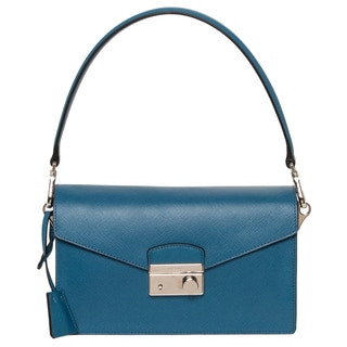 Prada Cobalt Saffiano Leather Flap Shoulder Bag