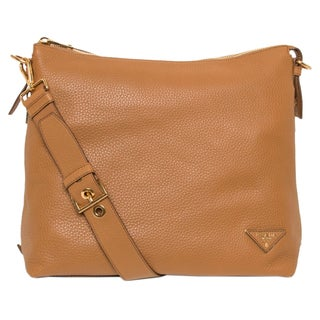 Prada Daino Caramel Side-Zip Hobo Bag