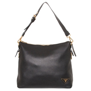 Prada Daino Black Side-Zip Hobo Bag