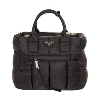 Prada Bomber Black Nylon Tote Bag