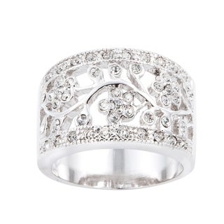 Simon Frank Silvertone Floral Design Cubic Zirconia Fashion Ring