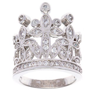 Simon Frank Silvertone 'Crown of Jewels' Cubic Zirconia Ring