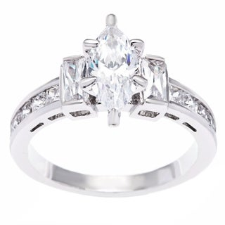 Simon Frank Marquise and Baguette Platinum Based Rhodium CZ Engagement Ring