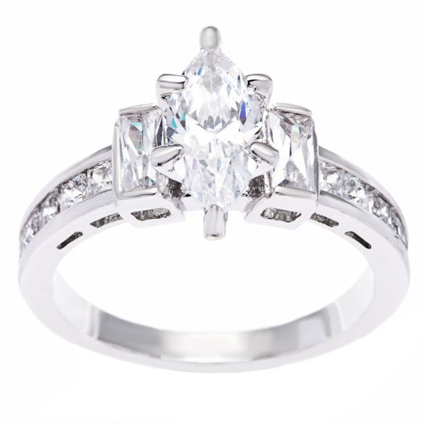 Simon Frank 1.79ct TDW Marquise/ Baguette and Princess-cut Rhodium Overlay CZ Engagement Ring
