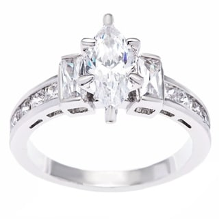 Simon Frank Silvertone Marquise and Baguette Cubic Zirconia Engagement Ring