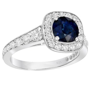 Sterling Silver 1 1/5ct Blue Sapphire 4/5ct TDW White Diamond Engagement Ring (G-H, SI1-SI2)