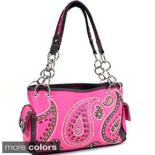 Montana West Paisley Stitch Rhinestone Shoulder Bag