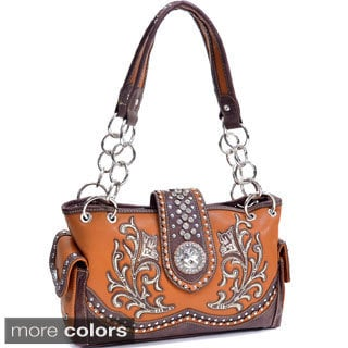 Montana Western Rhinestone Cross-studded Shoulder Bag