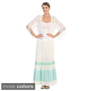 Hadari Women's White Lace Tiered Maxi Skirt