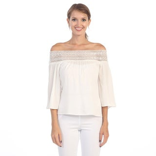 Hadari Women's White Crocheted Off-the-Shoulder Top
