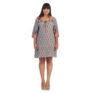Hadari Women's Plus Size Vintage-Meets-Tribal Shirt Dress