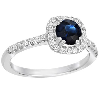 Sterling Silver 1ct TGW Blue Sapphire 1/3ct TDW Diamond Engagement Ring (G-H, SI1-SI2)