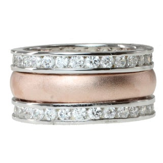 Michael Valitutti Signity Two-tone Cubic Zirconia 3-band Stacking Ring Set