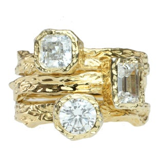 Michael Valitutti Signity Gold over Silver Cubic Zirconia Stacking Ring Set