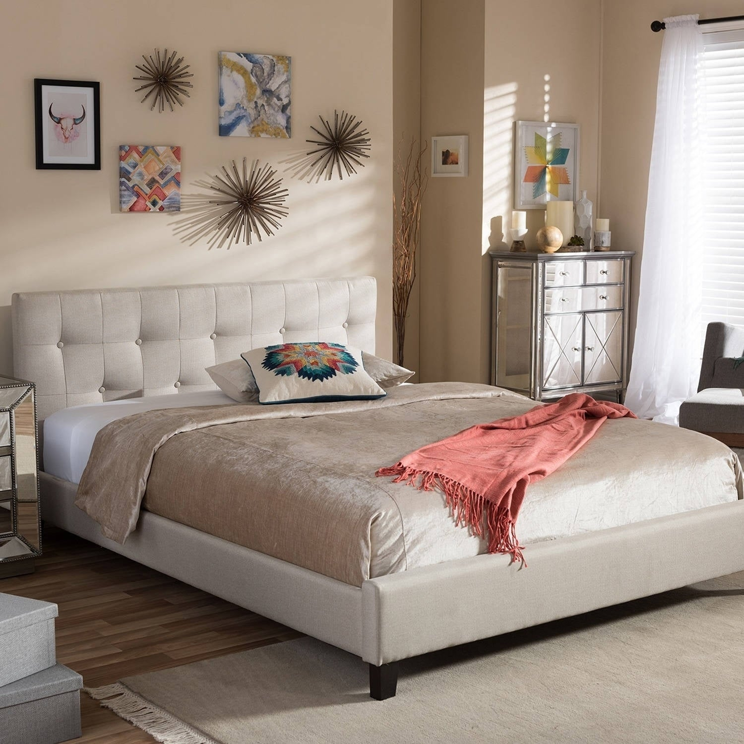 Baxton Annette Light Beige Linen Modern Bed with Covered Buttons at Sears.com