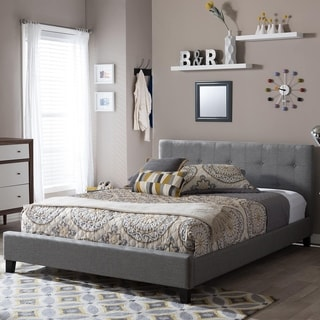 Baxton Studio Annette Gray Linen Modern Bed with Covered Buttons