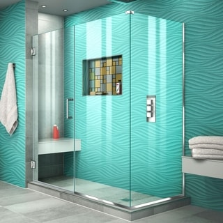 DreamLine Unidoor Plus 30.375 - 34.375 in. D x 59.5 in. W Frameless Hinged Shower Enclosure, Clear Glass
