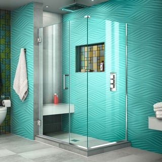 DreamLine Unidoor Plus 30.375 - 34.375 in. D x 39 in. W Frameless Hinged Shower Enclosure, Clear Glass