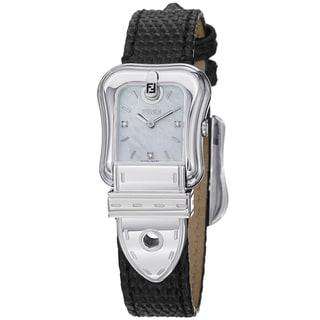 Fendi Women's F382024511D1 'B. Fendi' Mother of Pearl Diamond Dial Leather Strap Watch