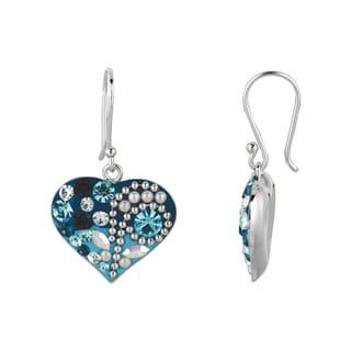 Silver Rhodium-plated Brass Blue Crystal Heart Dangle Earrings