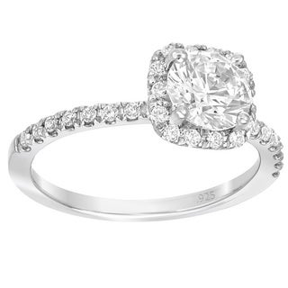 Sterling Silver 1ct TGW Moissanite 1/3ct TDW White Diamond Engagement Ring (G-H, SI1-SI2)