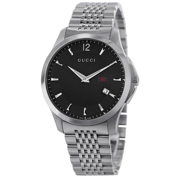 Gucci Men's YA126309 'Timeless' Black Dial Stainless Steel Bracelet Quartz Slim Watch