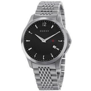 Gucci Men's YA126309 'Timeless' Black Dial Stainless Steel Bracelet Quartz Slim Watch