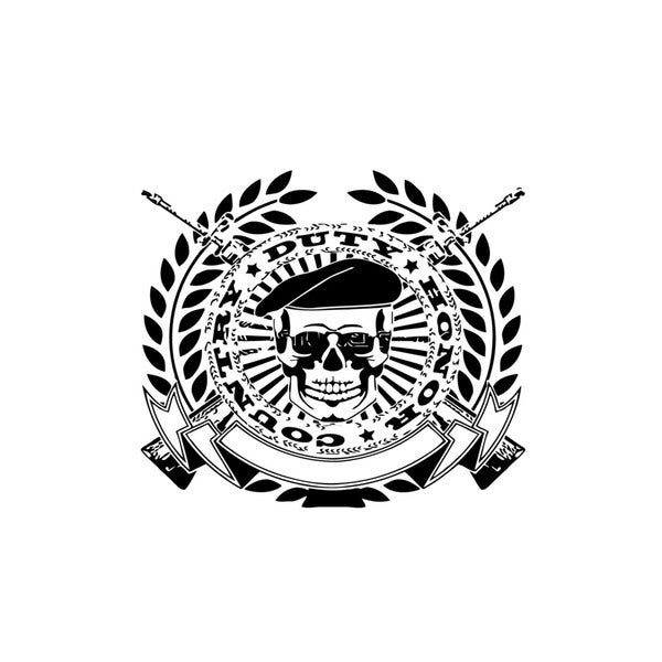Duty Honor Skull Coat of Arms Vinyl Wall Art