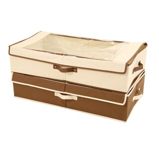 Seville Classics Underbed Canvas Storage Box Set with Window (2 Pack) - Brown and Cream
