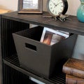 Seville Classics Faux Leather Tapered Storage Crate-Tote  Espresso - 13x13x10