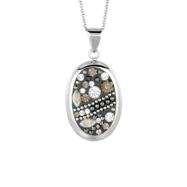 Silver Rhodium-plated Brass Black Crystal Oval Pendant Necklace