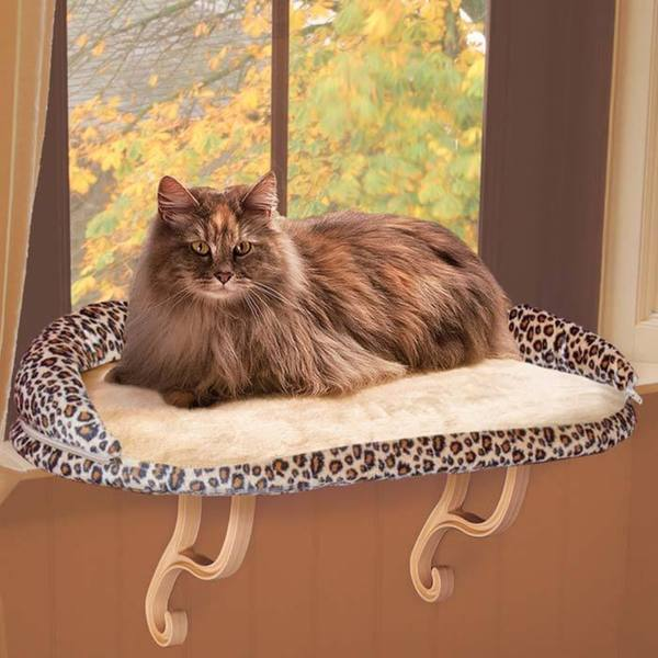 K&H Pet Products Deluxe Kitty Sill Bolster Leopard Bed