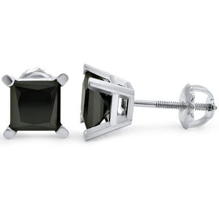 14k White Gold 2 1/4ct Black Diamond Princess Cut Stud Earrings