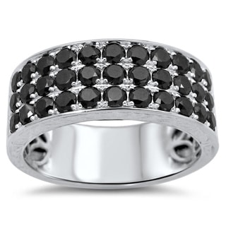 14k White Gold 2 1/6ct TDW Black Round Diamond Wedding Band Ring