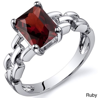 Oravo Sterling Silver Radiant Emerald-cut Gemstone Ring