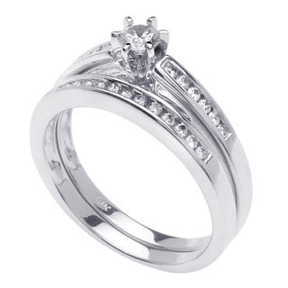 14k White Gold 3/5ct TDW Round Diamond Bridal Set (G-H, SI1-SI2)