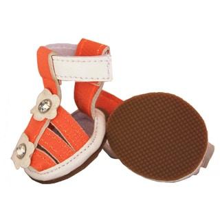 Pet Life Orange Flower Waterproof Dog Sandals (Set of 4)