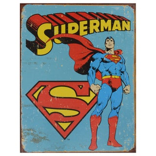 Vintage Metal Art 'Superman' Decorative Retro Tin Sign