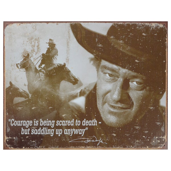 Vintage Metal Art 'John Wayne' Decorative Tin Sign