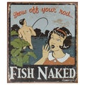 Vintage Metal Art 'Fish Naked' Decorative Tin Sign
