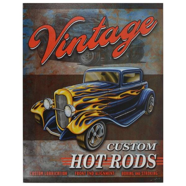 Vintage Metal Art 'Vintage Hot Rod' Decorative Tin Sign 13174674