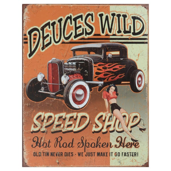 Vintage Metal Art 'Deuces Wild Speed Shop' Decorative Tin Sign